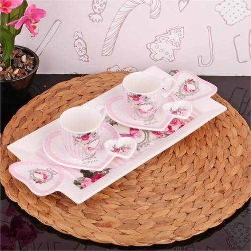 İhouse2508 Porselen 2 Li Kahve İkram Seti Beyaz