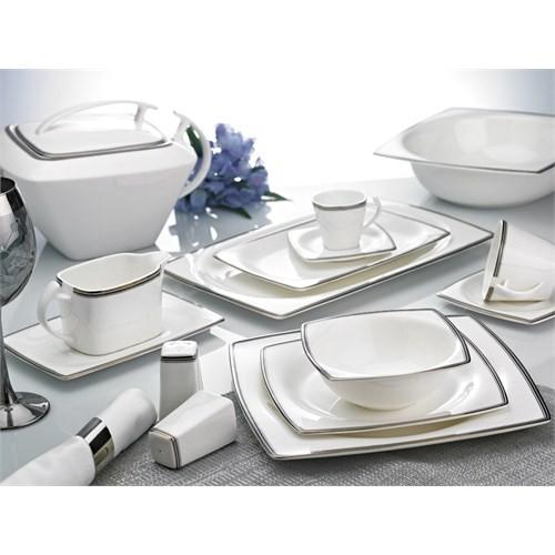 Noble Life Bona China 607 Platin Lines 86 Parça Porselen Yemek Takımı - 12396