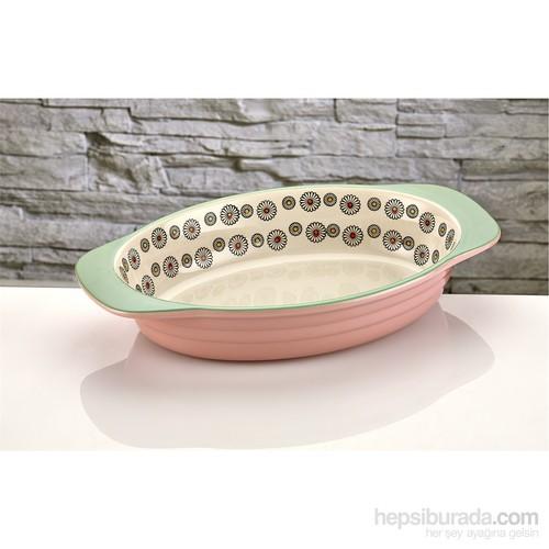 iHouse Bnf02-Porselen Fırın Kabı-Pembe