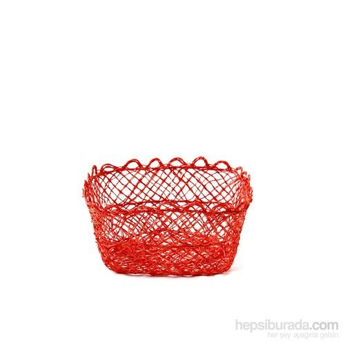 Kancaev İnce Hasır Sepet Küçük Kırmızı