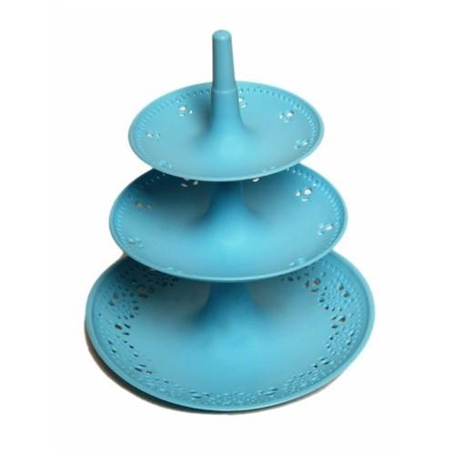 Atadan 3 Katlı Dantel Desenli Büyük Kurabiyelik-Mavi