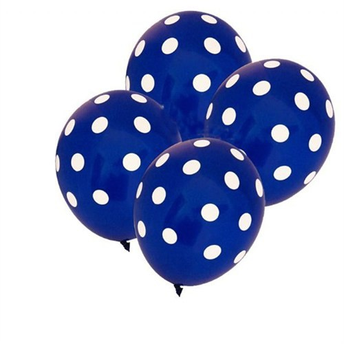 Pandoli 25 Adet Koyu Mavi Lacivert Beyaz Puanlı Baskılı Latex Balon