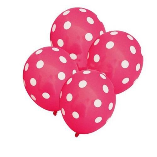 Pandoli Şeker Pembesi Beyaz Puanlı 25 Adet Baskılı Latex Balon