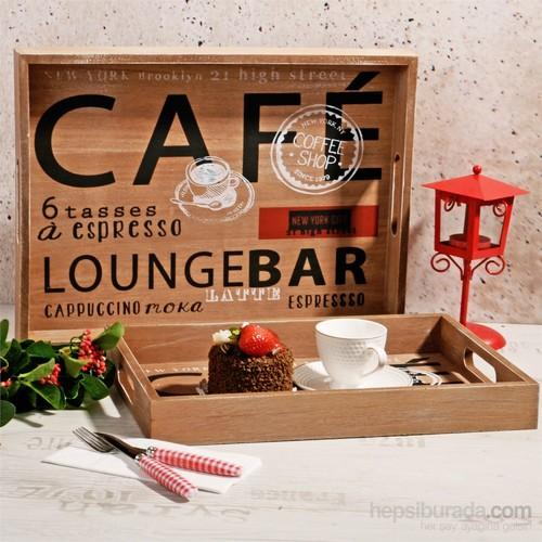 İhouse Dekoratif 2 Li Ahşap Tepsi Yazılı Cafe Temalı Büyük 40X30x5cm Küçük 35X25x4cm