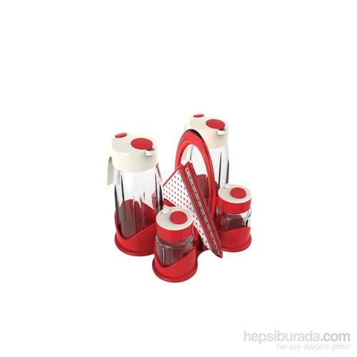 Miradan Qella Yağlık Sirkelik Ve Tuzluk Seti - Kırmızı