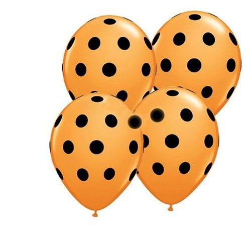 Pandoli Sarı Siyah Puanlı 25 Adet Baskılı Latex Balon