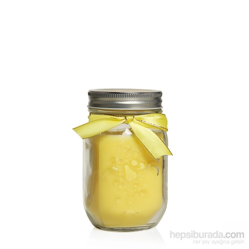 Cam Üzeri Kabartma İşlemeli Kokulu Mum (Parafinsiz) Mango
