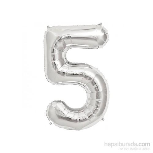 KullanAtMarket 5 Rakam Gümüş Folyo Balon