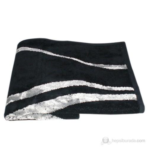 Dantela 80X150 Viskonlu Havlu Siyah-Gri 111