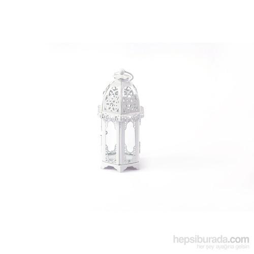 Matmazel Dar Saydam Camlı Metal Kandil - Beyaz