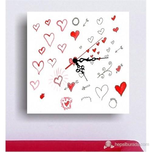 Kırmızı Kalpler Kanvas Tablo Saat
