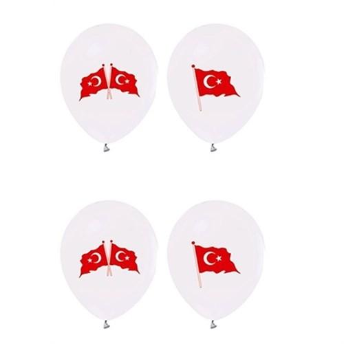 Pandoli 25 Adet Beyaz Renk Bayrak Balon