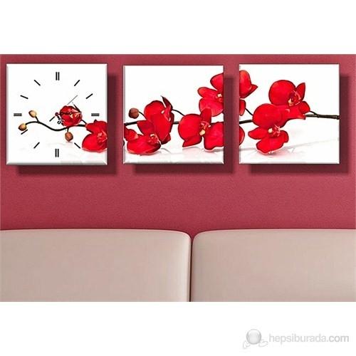 Kırmızı Çiçek Kanvas Tablo ve Saat