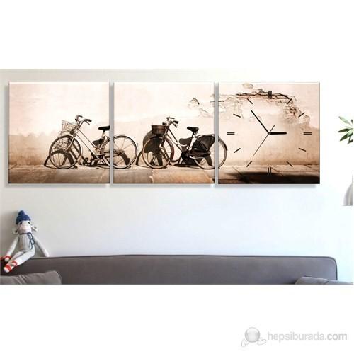 Bisikletler 3 Parçalı Tablo Saat
