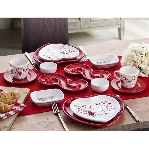Keramika Set Kalp Kahvaltı 14 Parca Aşk