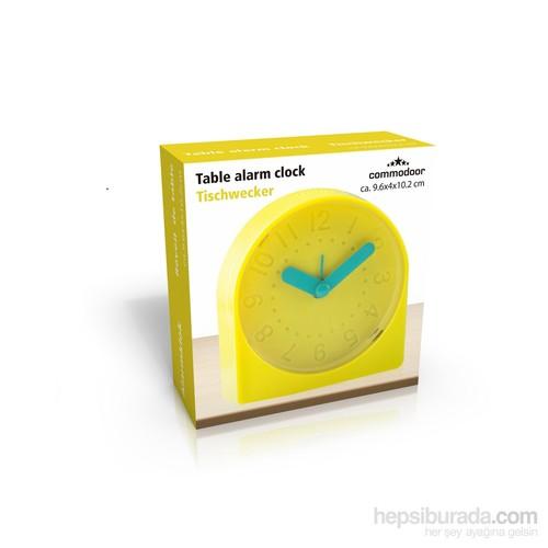 Gold Dekor Masa Saati Alarmlı Sarı