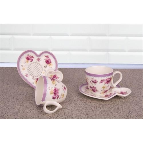 LoveQ Gül Serisi Porselen Çift Kişilik İkramlık Kahve Keyif Fincanı 146687G