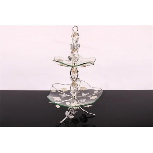 LoveQ Lux Gümüş Cam 2 Katlı Kurabiyelik 146945