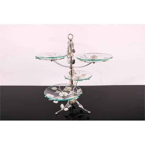 LoveQ Lux Gümüş Cam 4 Katlı Kurabiyelik 146951