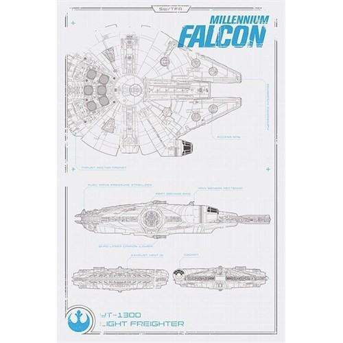 Pyramid International Maxi Poster - Star Wars Episode Vıı Millennium Falcon Plans