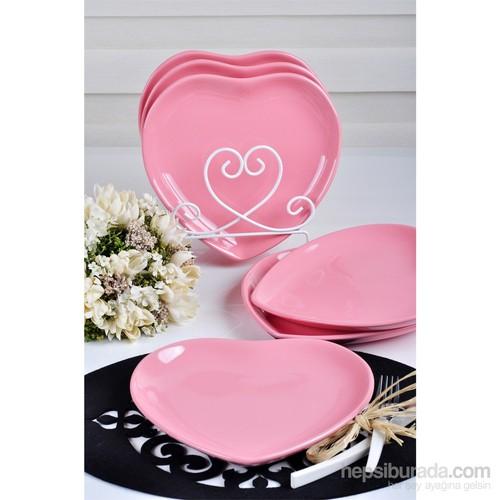 Keramika 6 Adet 20 Cm Pembe Kalp Pasta Tabağı