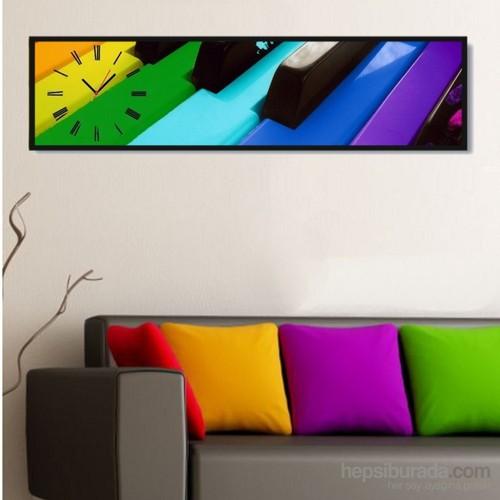 Renkli Piano - Çerçeveli Kanvas Saat