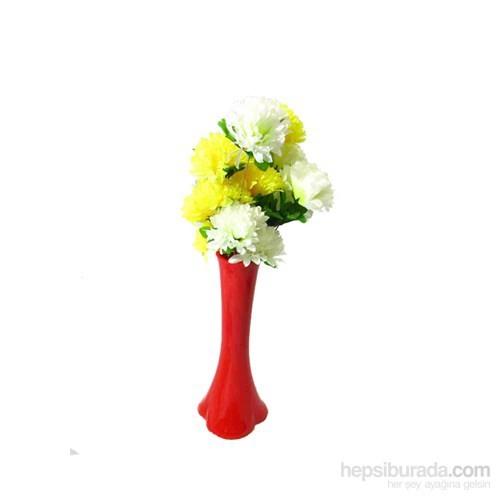 Sarı Beyaz Çiçek 40 cm Kırılmaz Kırmızı Vazo