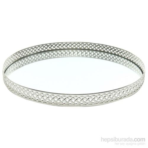 Miss Gaya Yuvarlak Tepsi 35 Cm/Gümüş