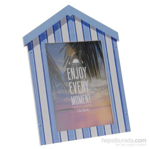 Gold Dekor Plaj Evi Resimlik Mavi 13*18