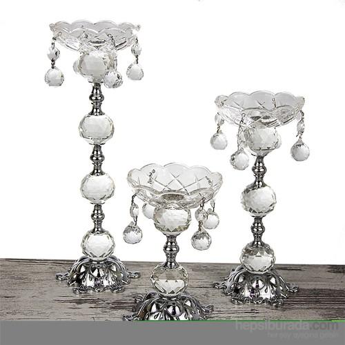 Mukko Home Gümüş Kristal Şamdan - 3'Lü Set