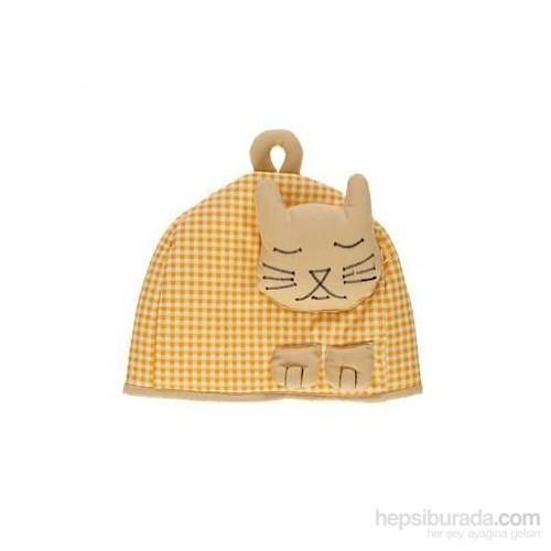 Yastıkminder Sarı Kedili Çaydanlık Kılıfı