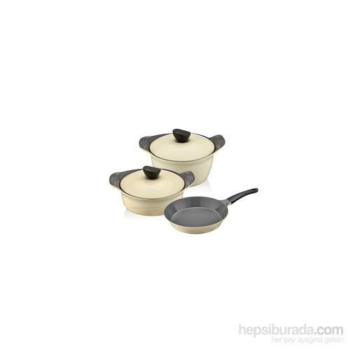 Neva N940 Sweet Wawe Ceramica Krem 5 Parça Tencere Seti