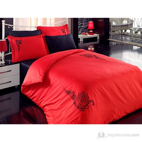 Cotton Box Çift Kişilik Brode Saten Nevresim Takımı -Love Song Kırmızı