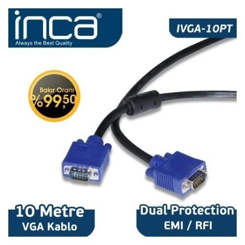 Inca IVGA-10PT VGA TO VGA 10M Bakır Kablo
