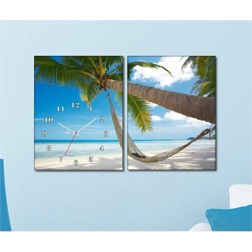 Tabloshop - Coast 2 Parçalı Canvas Tablo Saat - 63X40cm