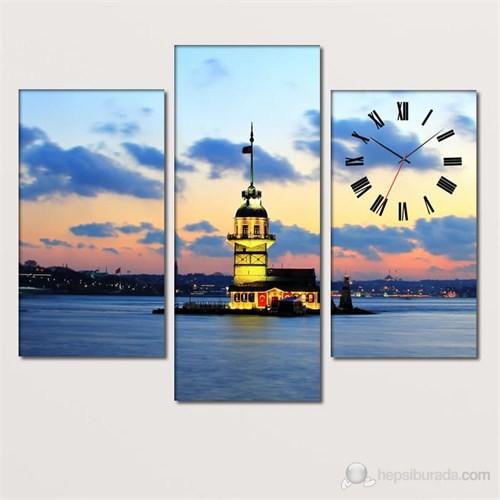 Tabloshop - Kız Kulesi 3 Parçalı Simetrik Canvas Tablo Saat - 80X60cm
