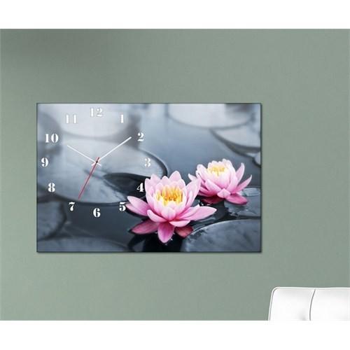 Tabloshop - Floral Iı Canvas Tablo Saat - 45X30cm