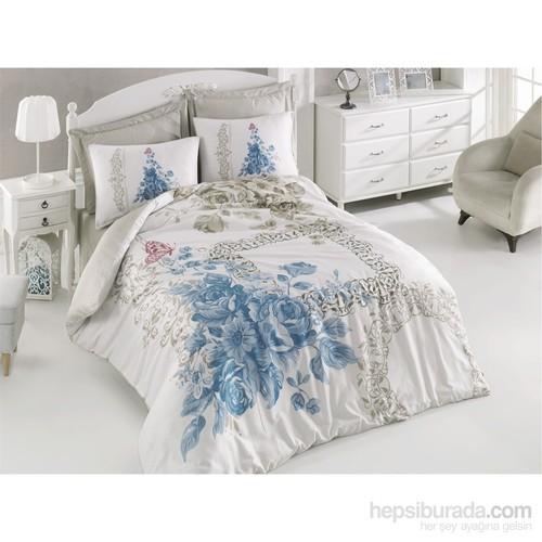 Cotton Box Çift Kişilik Pamuk Saten Nevresim Takımı - Defne Mavi