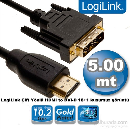 Logilink CH0015 Çift Yönlü HDMI - DVI Erkek-Erkek 5m Kablo