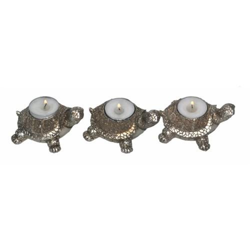 Atadan 3 Lü Gümüş Simli Kaplumbağa Mumluk