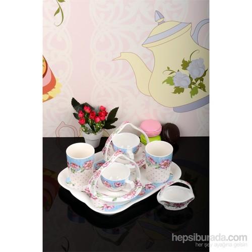 Paşahome Bone China Sepetli Ve Tepsili 8 Parça Kahve Keyif Seti