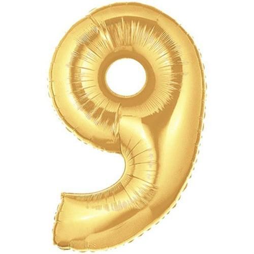 Pandoli 90 Cm Gold Renk Rakamlı Folyo Balon 9 Numara