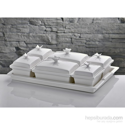 Fidex Home Porselen 6 Parça Tepsili Kahvaltılık
