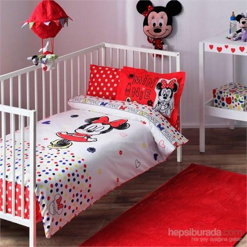 Taç Lisanlı Disney Minnie Sketch Bebek Ranforce Nevresim Takımı