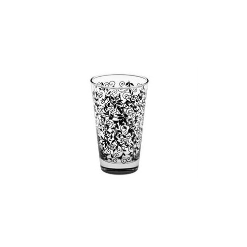 Joy Glass 6'lı Siyah Şal Desen Meşrubat Bardağı