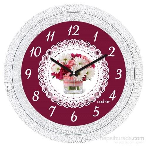 Cadran 1108-60 Dekoratif Vintage Duvar Saati Çatlak Desen Dantel Çiçek-2