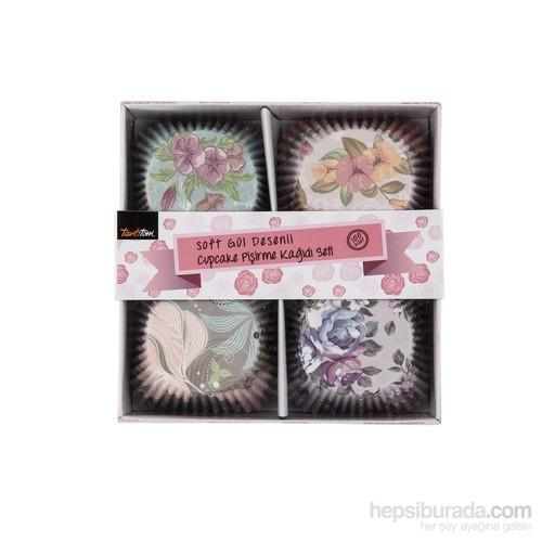 Tantitoni Soft Gül Desenli Cupcake Pişirme Kağıdı Seti 100 Lü