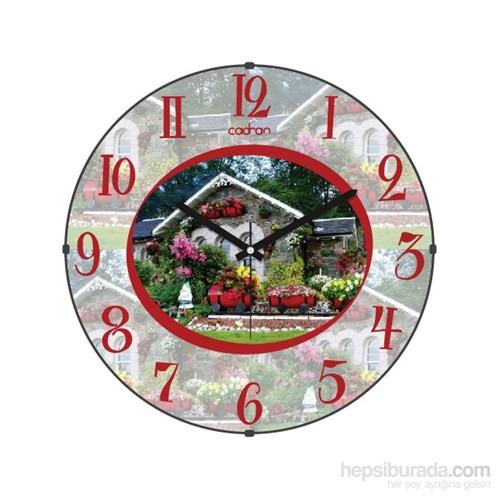 Cadran 110-7 Bombeli Cam Duvar Saati Ev Çiçekler