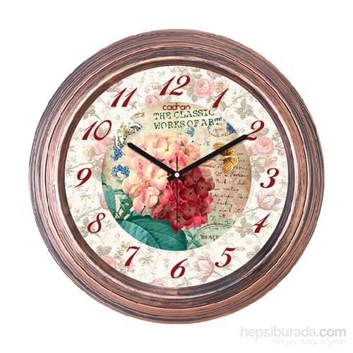 Cadran 1108-19 Dekoratif Vintage Duvar Saati Bakır Çiçekler