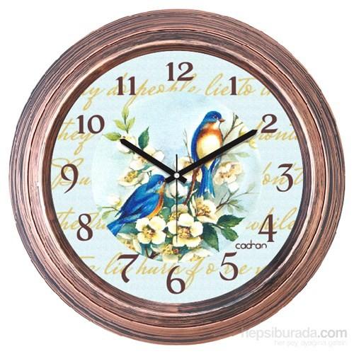 Cadran 1108-21 Dekoratif Vintage Duvar Saati Bakır Kuşlar